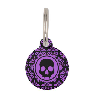 Placa Para Mascotas Cráneo lindo gótico