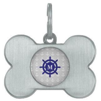 Placa Para Mascotas Cualquie etiqueta náutica del mascota del ancla