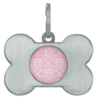 Placa Para Mascotas Damasco rosado y blanco