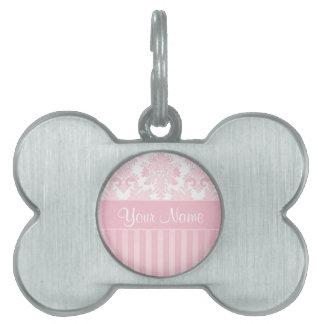 Placa Para Mascotas Damasco y rayas rosados personalizados bonito