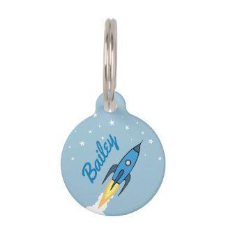 Placa Para Mascotas Dibujo animado lindo de la nave azul de Rocket