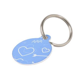 Placa Para Mascotas Doodles azul claro del corazón y de la flecha del