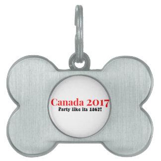 Placa Para Mascotas El fiesta de Canadá 150 en 2017 tiene gusto de