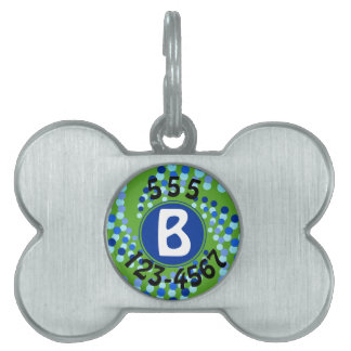 Placa Para Mascotas El remolinar azul puntea (elija el color de fondo)