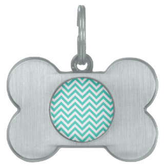 Placa Para Mascotas El zigzag azul y blanco del trullo raya el modelo