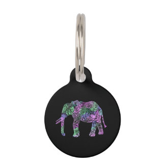 Placa Para Mascotas elefante de neón floral tribal colorido