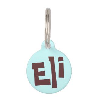Placa Para Mascotas Eli Brown oscuro en etiqueta azul clara del nombre
