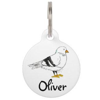 Placa Para Mascotas Etiqueta de perro casero del pájaro de la paloma