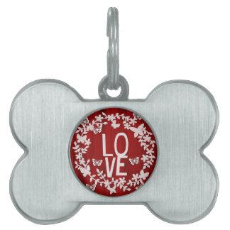 Placa Para Mascotas Etiqueta del mascota del amor del hueso