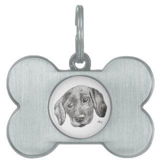 Placa Para Mascotas Etiqueta del mascota del arte del perrito