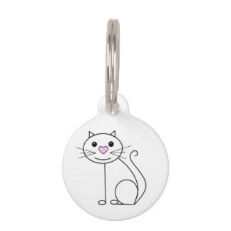 Placa Para Mascotas Etiqueta linda del nombre del gato con los