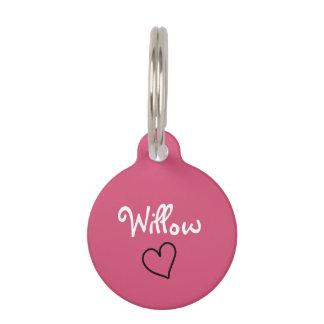 Placa Para Mascotas Etiqueta personalizada rosa lindo del mascota con