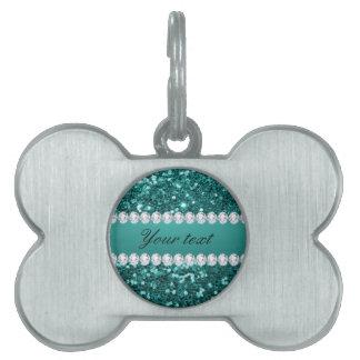Placa Para Mascotas Falso brillo y diamantes del trullo elegante