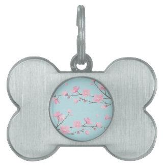 Placa Para Mascotas Flor de cerezo - azul de cielo