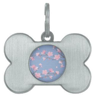 Placa Para Mascotas Flor de cerezo - azul de la serenidad