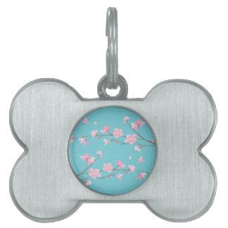 Placa Para Mascotas Flor de cerezo - azul del huevo del petirrojo