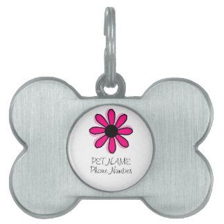 Placa Para Mascotas Flor rosada
