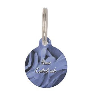 Placa Para Mascotas Foto gris azul clara delicada de la flor de los