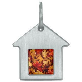 Placa Para Mascotas Hojas de otoño - color de la caída