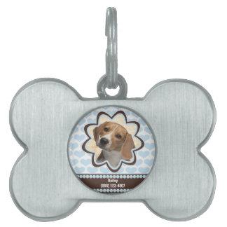 Placa Para Mascotas Imagen de encargo de los corazones del perrito de
