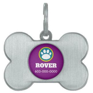 Placa Para Mascotas Impresión de la púrpura, verde azulada y verde de