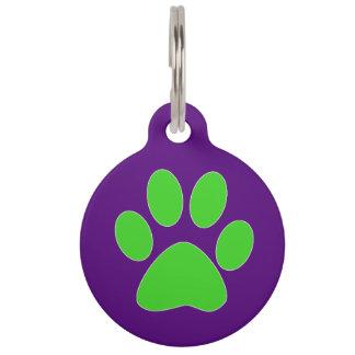 Placa Para Mascotas Impresión [púrpura y verde] de la pata