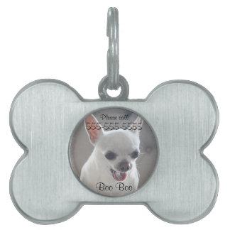 Placa Para Mascotas La etiqueta del mascota del hueso de la chihuahua