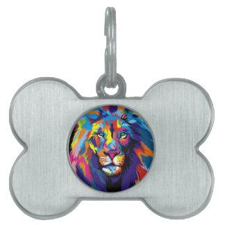 Placa Para Mascotas León colorido