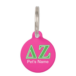 Placa Para Mascotas Letras del verde de la zeta del delta