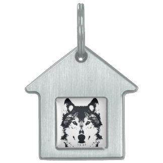 Placa Para Mascotas Lobo negro del ilustracion