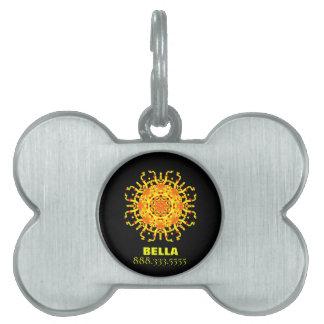 Placa Para Mascotas Mandala azteca tribal amarillo-naranja del *~*