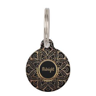 Placa Para Mascotas Mandala del efecto metalizado de oro para el