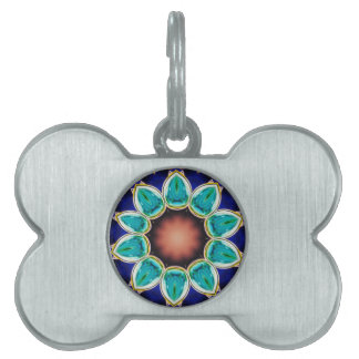 Placa Para Mascotas Mandala formada flor subió trullo