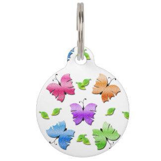 Placa Para Mascotas Mariposas brillantes