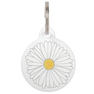 Placa Para Mascotas Mi nombre es flor amarilla blanca del perro de la
