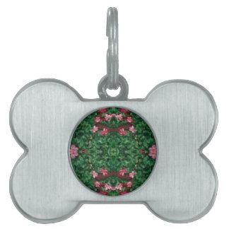 Placa Para Mascotas Modelo artístico bonito del rosa verde