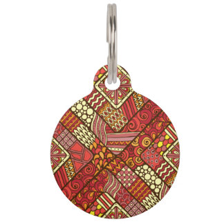 Placa Para Mascotas Modelo azteca tribal abstracto rojo