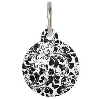 Placa Para Mascotas Modelo blanco y negro elegante de las vides del