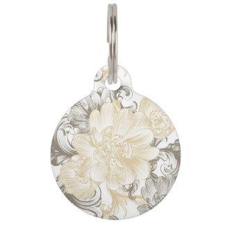Placa Para Mascotas Modelo floral beige de las vides del Victorian del