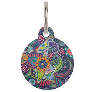 Placa Para Mascotas Modelo floral multicolor de neón de Paisley