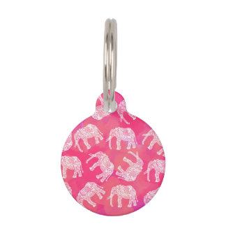 Placa Para Mascotas modelo floral tribal colorido rosado femenino del