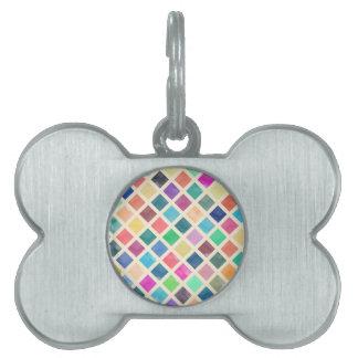 Placa Para Mascotas Modelo geométrico de la acuarela