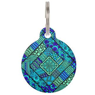 Placa Para Mascotas Modelo tribal abstracto azulverde de Boho