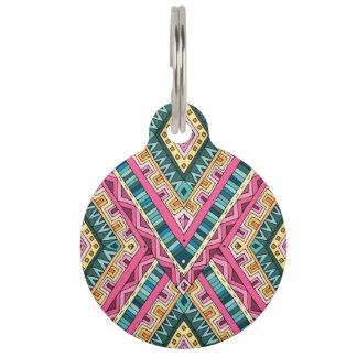 Placa Para Mascotas Modelo tribal abstracto colorido brillante de Boho