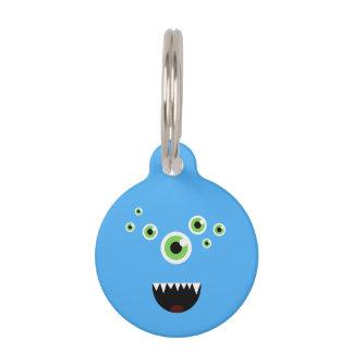 Placa Para Mascotas Monstruo azul lindo loco divertido único
