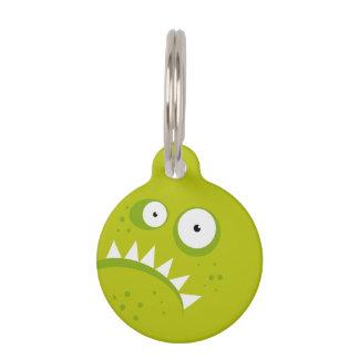 Placa Para Mascotas Monstruo verde asustadizo divertido enojado gruñón