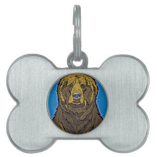 Placa Para Mascotas Oso grizzly