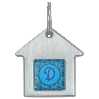 Placa Para Mascotas Paisley emplumada - azulada