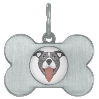 Placa Para Mascotas Perro Pitbull sonriente del ilustracion