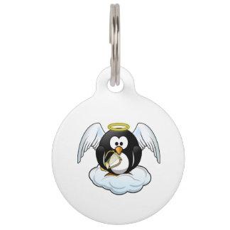 Placa Para Mascotas Pingüino del ángel en una nube